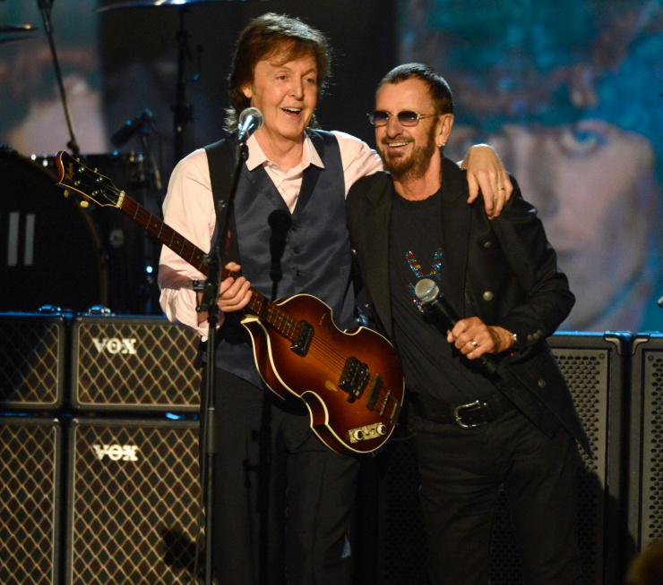 Paul McCartney and Ringo Starr (The Beatles) (Photo by Kevin Mazur/WireImage.com)